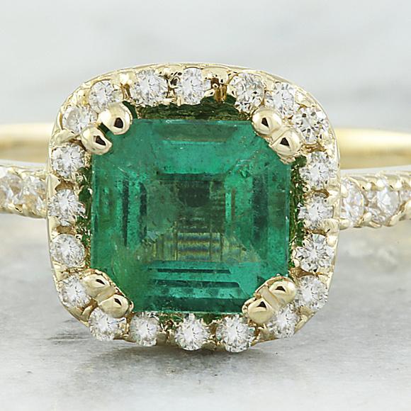 251253146 Jewelry | 145 Carat Emerald 14k Yellow Gold Diamond Ring | Poshmark
